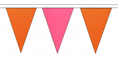 ORANGE AND PINK TRIANGULAR BUNTING - 10m / 20m / 50m LENGTHS